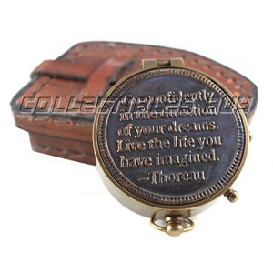"collectiblesBuy Survival Compass 1 Vintage Maritime Unique Design Magnetic Navigation Nautical Instrument with Leather Case Antique Brass Quote Compass by""Thoreau"" Halloween Gift Xmas Gift Collection"