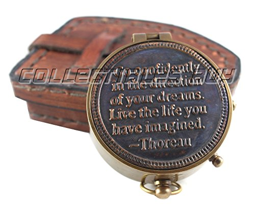 "collectiblesBuy  1 Vintage Maritime Unique Design Magnetic Navigation Nautical Instrument with Leather Case Antique Brass Quote Compass by""Thoreau"" Halloween Gift Xmas Gift Collection"