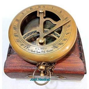 Aysha Nautical Survival Compass 1 Aysha Nautical Brass Sundial Compass with Leather Case and Chain - Push Open Compass - Steampunk Accessory - Antiquated Finish - Beautiful Handmade Gift -Sundial Clock