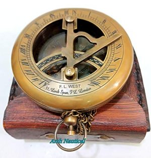 Aysha Nautical  1 Aysha Nautical Brass Sundial Compass with Leather Case and Chain - Push Open Compass - Steampunk Accessory - Antiquated Finish - Beautiful Handmade Gift -Sundial Clock