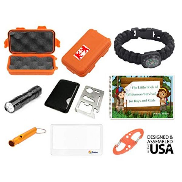 EZ Survival Kit 1 EZ Outdoor Adventure Kit for Boys and Girls The Little Book of Wilderness Survival, Waterproof Box, Multi-Functional Tool, Magnifying Lens, Paracord Bracelet with Compass, Whistle, Flashlight, Hook