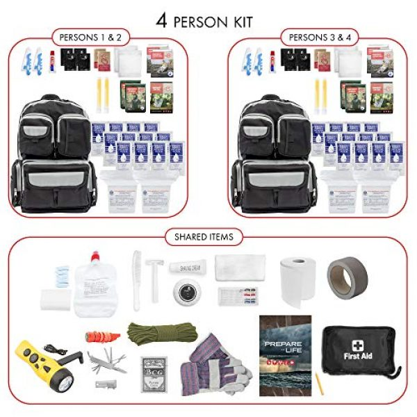 Emergency Zone Survival Kit 3 Emergency Zone 4 Person Urban Survival 72-Hour Bug Out/Go Bag | Perfect Way to Prepare Your Family | Be Ready for Disasters Like Hurricanes, Earthquake, Wildfire, Floods