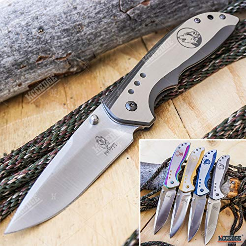 KCCEDGE BEST CUTLERY SOURCE  1 KCCEDGE BEST CUTLERY SOURCE EDC Pocket Knife Camping Accessories Razor Sharp Edge Wildlife Folding Knife Camping Gear Survival Kit 57376 (Wolf)