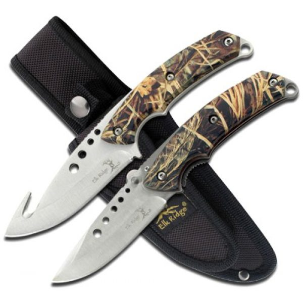 Elk Ridge Fixed Blade Survival Knife 1 Elk Ridge - Outdoors Hunting Knife Set- 2 PC Fixed Blade and Folding Knife Set, Satin Finished Stainless Steel Blades, Camo Coated Handles, Includes Combo Nylon Sheath - Hunting, Camping, Survival - ER-054CA