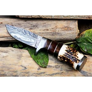 BLACK MAMBA KNIVES Fixed Blade Survival Knife 1 Black Mamba Knives BMK-101 Eagle 8.5 Long 4 Blade 7 Ounce Blade Damascus Hunting Fixed Blade Knife With Antler Hand Made Damascus Word Class Knives