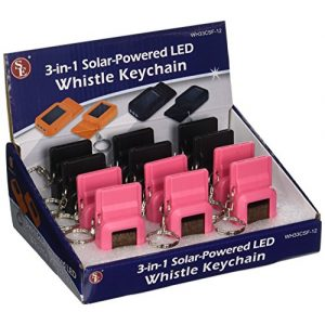 SE Survival Whistle 1 SE 3-in-1 Solar-Powered LED Whistles with Keychains (12-Pack) - WH33CSF-12