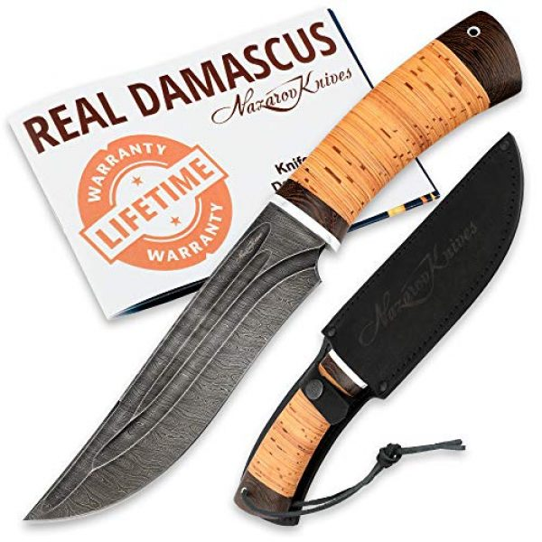 Nazarov Knives Fixed Blade Survival Knife 1 Hunting Knife KATRAN with Hammered Damascus Steel Fixed Blade for Survival, Buck Skinning, Fishing or Camping, Balanced Birchbark Handle, Leather Sheath