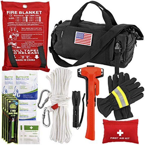 EVERLIT Survival Kit 1 EVERLIT Survival Emergency Fire Safety Kit with Fire Blanket, Heat Resistant Gloves, Escape Rope, Glass Hammer, Glow Sticks, Flashlight, First Aid Supplies with Burn Injury Care Treatment and More
