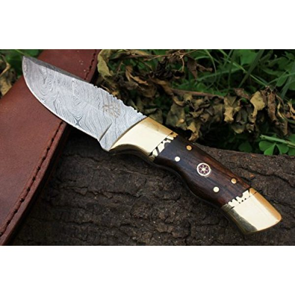 "DKC Knives Fixed Blade Survival Knife 1 15 4/4/18 Sale DKC-523 Gold Finch Damascus Hunting Handmade Knife Fixed Blade 9oz oz 8""Long 3.75"" Blade"