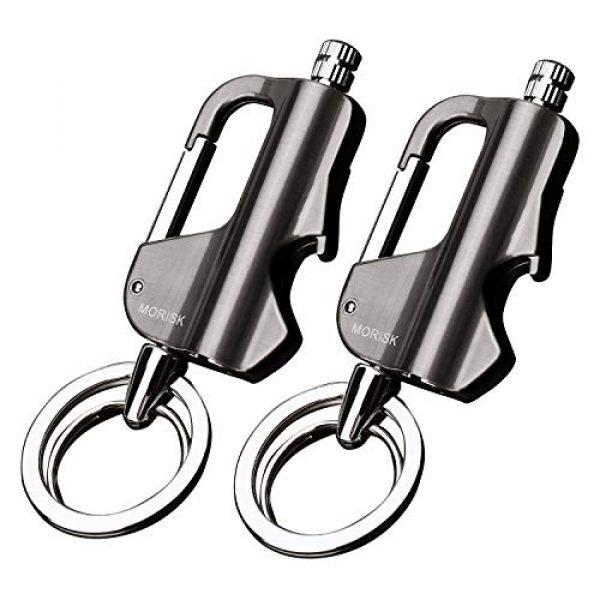 Morisk Survival Fire Starter 1 Morisk 2 Pack Permanent Match Keychain with Bottle Opener, Waterproof Flint Fire Starter Refillable Survival Lighter, EDC Key Chain Firestarter/Forever Matches for Outdoor Emergency, Cool Mens Gift
