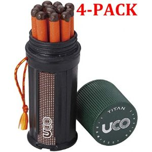 UCO Survival Fire Starter 1 UCO Titan Stormproof Match Kit with Waterproof Case, Replacement Strikers and 12 Matches