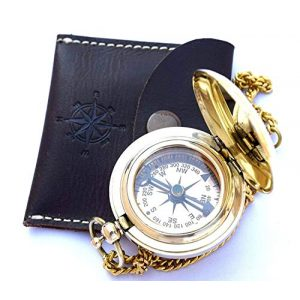THORINSTRUMENTS Survival Compass 1 THORINSTRUMENTS (with device) Nautical Vintage Compass Solid Brass Compass in a Black Leather Case