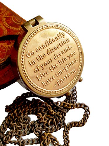 Brass Nautical  1 Brass Nautical Thoreau's Go Confidently Embossed Solid Brass Compass with Leather Case