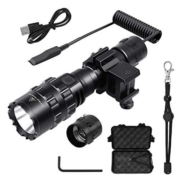 AIRSSON Survival Flashlight 1 AIRSSON Tactical Flashlight,Rechargeable Flashlight Put on Rifle with Remote Pressure Switch,1600 High Lumens 5 Modes for Outdoor Hunting Camping Hiking Fishing Biking