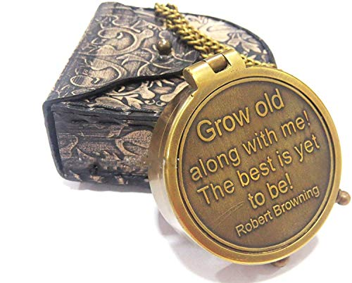 NauticalMart  1 NauticalMart Grow Old Along with Me Engraved Brass Compass with Chain and Leather case Gift for Wedding