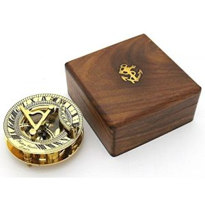 THORINSTRUMENTS Survival Compass 1 THORINSTRUMENTS (with device) Solid Brass Sundial and Compass in Hardwood Box - Polished Brass Sundial Compass