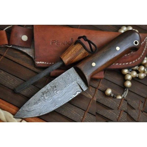 Perkin Fixed Blade Survival Knife 1 Sale - Custom Handmade Damascus Hunting Knife Beautiful Bushcraft Knife with Sheath and Knife Sharpener