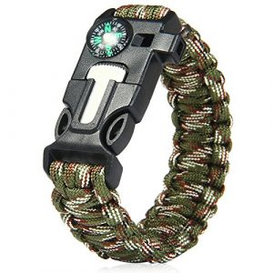 Wsobue Survival Paracord Bracelet 1 Paracord Bracelet,Survival Gear Kit Fire Starter Whistle Compass Emergency Knife,Perfect for Hiking Camping Fishing and Hunting