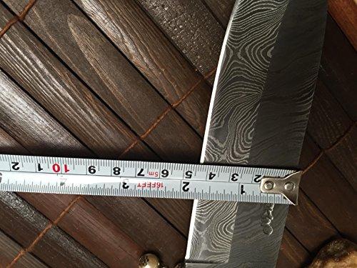 Perkin  7 Perkin - Custom Handmade Damascus Hunting Knife with Sheath - Survival Knife