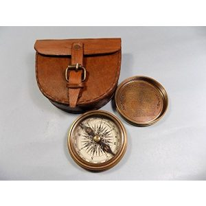 THORINSTRUMENTS Survival Compass 1 Authentic Vintage Style Brass Pocket Compass with Leather Case