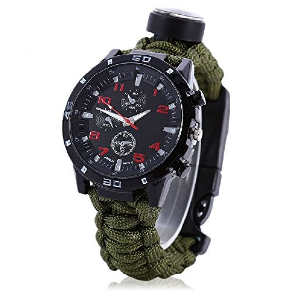 Wsobue Survival Paracord Bracelet 1 Men Women Emergency Survival Watch with Paracord,Compass,Whistle,Fire Starter, Analog Watches, Survival Gear,Water Resistant,Adjustable