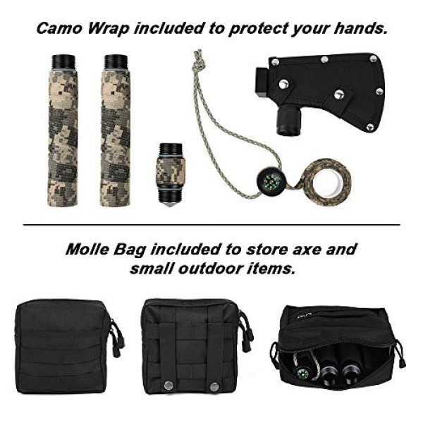 iunio Survival Kit 5 iunio Camping Axe, Hatchet with Sheath, Multi-Tool, Camp Ax, Survival Gear, Folding Portable Tools, for Hiking, Backpacking, Emergency, Hunting, Outdoor (Black with Bag)