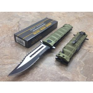 TAC Force Folding Survival Knife 1 TAC Force Assisted Opening Rescue Tactical Pocket Folding Sawbaw Bowie Knife Outdoor Survival Camping Hunting w/Glass Breaker - Green