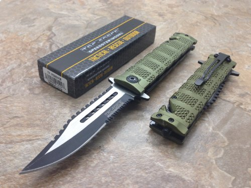 TAC Force  1 TAC Force Assisted Opening Rescue Tactical Pocket Folding Sawbaw Bowie Knife Outdoor Survival Camping Hunting w/Glass Breaker - Green