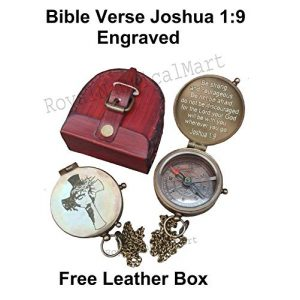 Royalmart Survival Compass 1 Royalmart Antique Compass Be Strong and Courageous Verse with Joshua Cross Engraved on Working Compass, Confirmation Gift Ideas, Graduation Gifts, Faith Gift, Vintage Gift