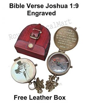 Royalmart  1 Royalmart Antique Compass Be Strong and Courageous Verse with Joshua Cross Engraved on Working Compass