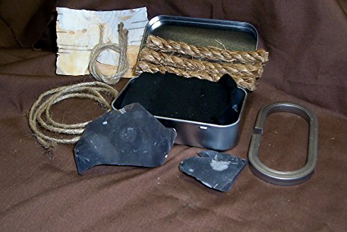 Vern's Flint and Steel  1 Vern's Flint and Steel Complete Fire Starter Set with Hinged Tinder Box and English Flint