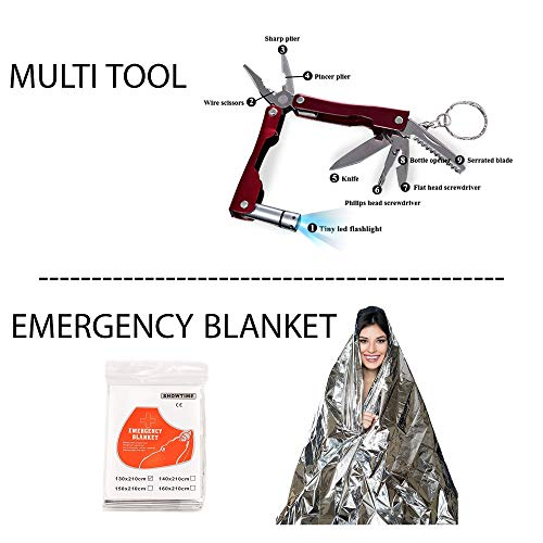 """A+ Alertoa  2 A+ Alertoa 30+""""Items in 1 Survival kit/Emergency Gears + First Aid kit; Include All Essential & Tools for Camping Biking Hunting Outdoor Birthday Gift - Men Women Boys Girls Need This Cool kit"""
