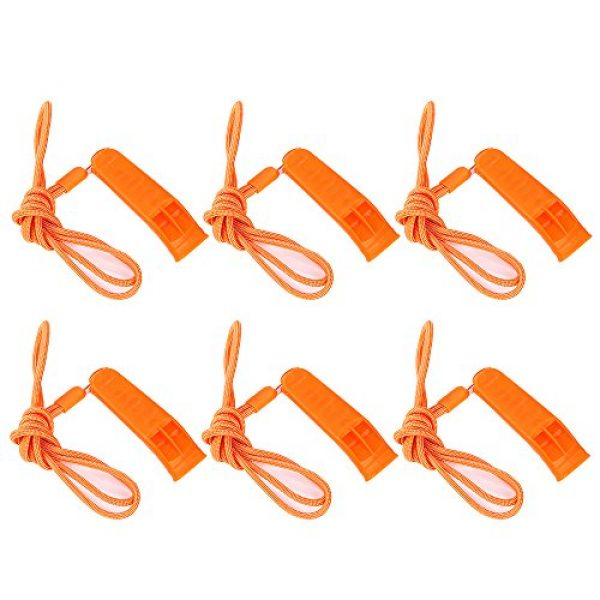 KASUNEN Survival Whistle 1 KASUNEN Safety Whistle Marine Whistle with Lanyard (6 Pack) for Boating Camping Hiking Hunting Emergency Survival Rescue