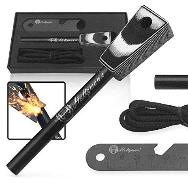 "Holtzman's Gorilla Survival Survival Fire Starter 1 Premium Ferro Rod Fire Starter - Gift Box 6"", 4 1/2"" Ferrocerium Rod Survival Kit - 3 in 1 Magnesium Flint and Steel Set with Paracord & Scraper - Lightweight Emergency Camping Tool"