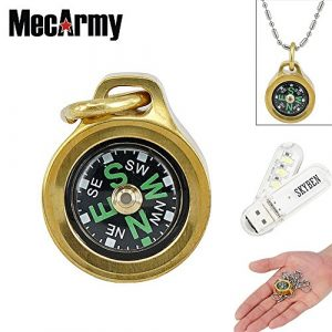 SKYBEN Survival Compass 1 SKYBEN MecArmy CMP Compasses Waterproof Hiking Military Navigation EDC Compass, Designed for Everyday Carry with Chain with USB Light