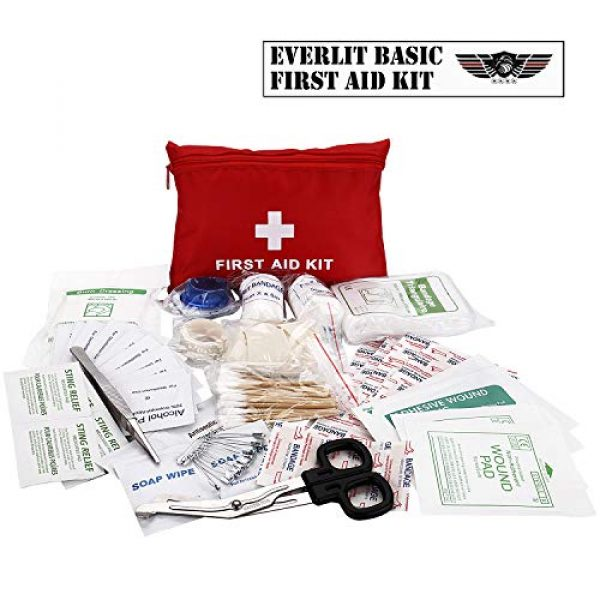 EVERLIT Survival Kit 5 EVERLIT Survival Emergency Fire Safety Kit with Fire Blanket, Heat Resistant Gloves, Escape Rope, Glass Hammer, Glow Sticks, Flashlight, First Aid Supplies with Burn Injury Care Treatment and More