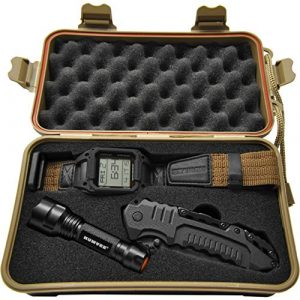 CampCo Survival Flashlight 1 Humvee HMV-RCN-RM1 Recon Mission Kit with Digital Watch, Knife and Tactical LED Flashlight, Black and Tan)
