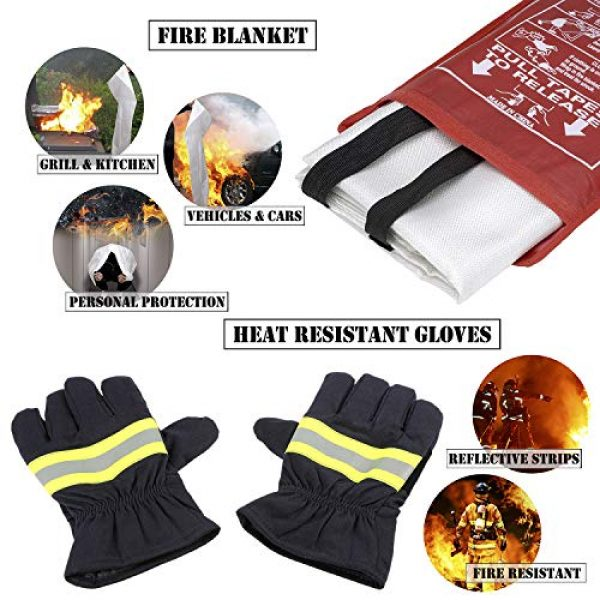 EVERLIT Survival Kit 3 EVERLIT Survival Emergency Fire Safety Kit with Fire Blanket, Heat Resistant Gloves, Escape Rope, Glass Hammer, Glow Sticks, Flashlight, First Aid Supplies with Burn Injury Care Treatment and More
