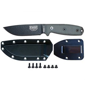 ESEE Fixed Blade Survival Knife 1 ESEE Knives Model 4 Plain Edge Fixed Blade Knife (Black) with Black Molded Sheath & Belt Clip Plate