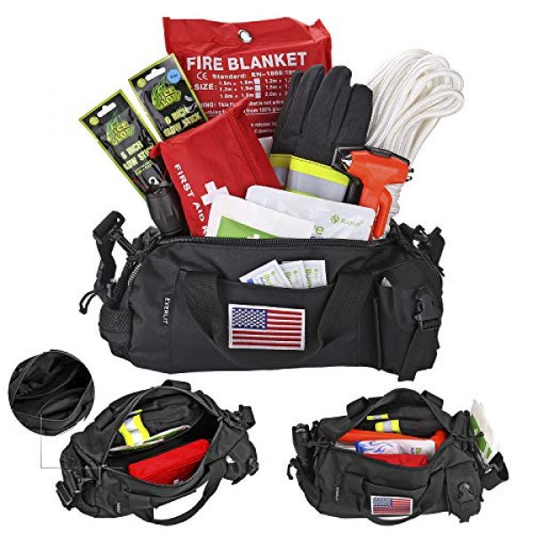 EVERLIT Survival Kit 2 EVERLIT Survival Emergency Fire Safety Kit with Fire Blanket, Heat Resistant Gloves, Escape Rope, Glass Hammer, Glow Sticks, Flashlight, First Aid Supplies with Burn Injury Care Treatment and More
