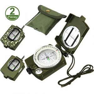 BBTO  1 2 Pieces Military Lensatic Sighting Compass Metal Sighting Navigation Compasses Impact Resistant Waterproof Lightweight Inclinometer Compasses with Carrying Bag for Hiking Camping Motoring Hunting