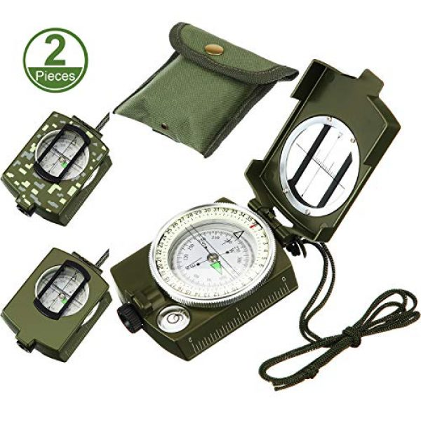 BBTO Survival Compass 1 2 Pieces Military Lensatic Sighting Compass Metal Sighting Navigation Compasses Impact Resistant Waterproof Lightweight Inclinometer Compasses with Carrying Bag for Hiking Camping Motoring Hunting