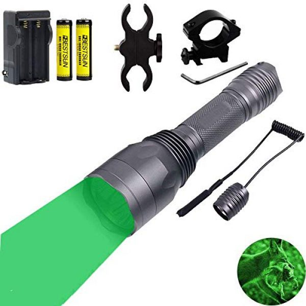 BESTSUN Survival Flashlight 1 BESTSUN 350 Yards Green Light LED Flashlight Predator Light Coyote Varmints Night Hunting Tactical Flashlights Set with Pressure Switch, Rail Mounts, Spare Rechargeable Battery, Charger