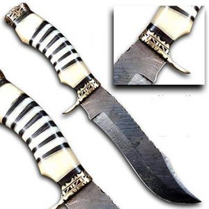 Bladess  1 Damascus Steel Hunting Knife - Fixed Blade Knives with Sheath - Hunting Knife with Camel Bone Handle Brass Guard Hand Made Damascus Knife for Hunting