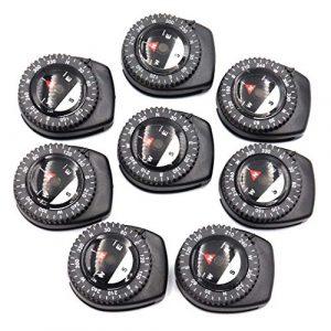 DETUCK  1 DETUCK(TM) Mini Compass Little Clip Compass Magnetic Bearing Compasses Wrist Compass Handy Button Compass Set for Watchband