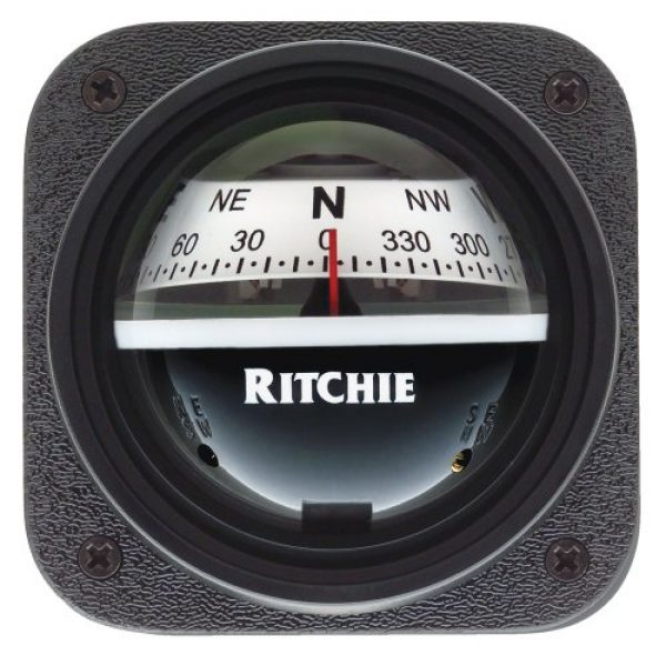 E.S. Ritchie Survival Compass 1 Ritchie V-537W Explorer Compass - Bulkhead Mount - White Dial