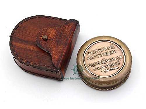 Roorkee Instruments India Survival Compass 1 ROORKEE INSTRUMENTS (INDIA) A NAUTICAL REPRODUCTION HOUSE Famous Quote of J.M. Barrie, Peter Pan Second Star to The Right Compass w/case