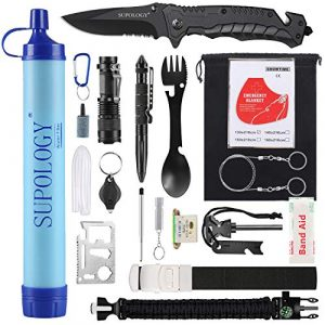 SUPOLOGY Survival Kit 1 SUPOLOGY Emergency Survival Gear Kits, 23-in-1 Tactical Tools Kit Outdoor Camping Gear with Water Filter for Camping, Hiking, Adventures, Backpack, Fishing, Hurricane, Gifts for Men Fathers Day