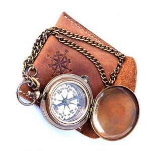 THORINSTRUMENTS Survival Compass 1 Handmade Nautical Brass Push Open Compass On Chain with Leather Case Pocket Compass Gift Compass