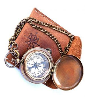 THORINSTRUMENTS  1 Handmade Nautical Brass Push Open Compass On Chain with Leather Case Pocket Compass Gift Compass